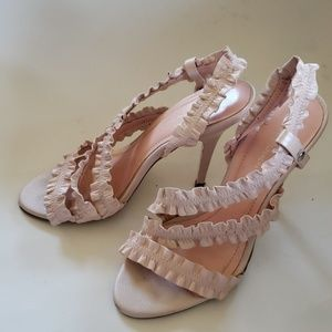 BCBG Generation ruffle pink summer sandals 7 1/2